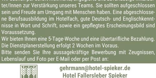 Stellenanzeige Hotel Fallersleber Spieker